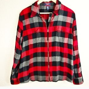 Chaps Buffalo Plaid Jacket Zip Up Size XXL